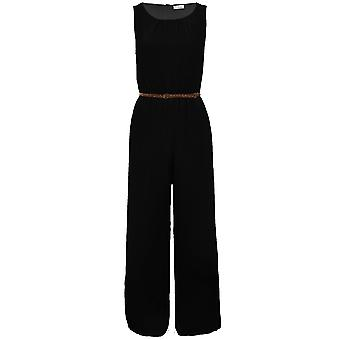 Ladies Sleeveless Belted Chiffon Pleated Lined Casual Party Women's Jumpsuit