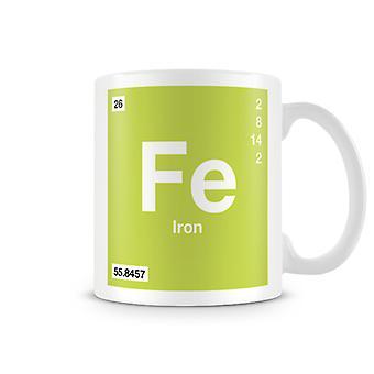Scientific Printed Mug Featuring Element Symbol 026 Fe - Iron