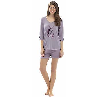 Ladies Wolf & Harte Animal Printed Top & Fleece Shorts Pyjama Set Lounge Wear