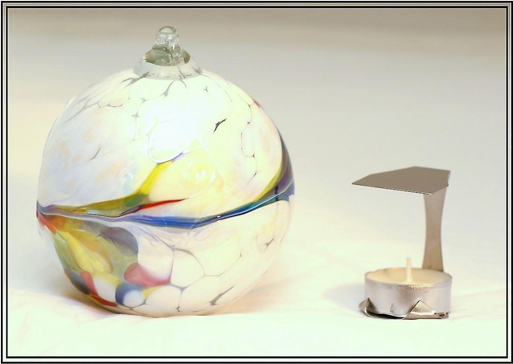 Milford Collection Hanging Glass Tealight Holder - White