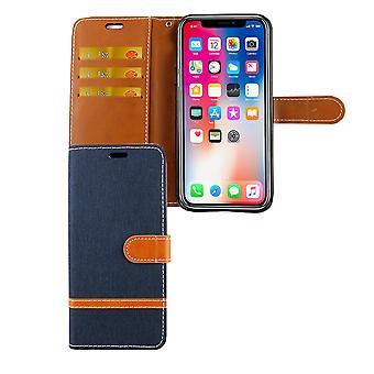 Apple iPhone XS Handy Hülle Schutz-Tasche Case Cover Kartenfach Etui Wallet Blau