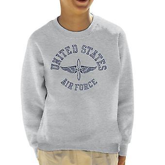 US Airforce Winged Propeller Navy Blue Text Kid's Sweatshirt
