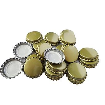 100PC Gold Metal 25mm Bottle Caps Crown Home Brew Lid Toppers - By TRIXES