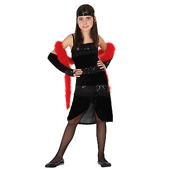 Faschingskostüme für Kinder Mädchen Charleston Kleid schwarz für Kinder Größe 5-6