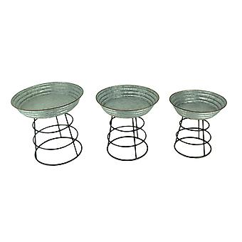 Gegalvaniseerde metalen Mini Wash Tub Planter Stands Set van 3