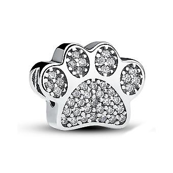 Sterling silver charm Dog paw with zirconia