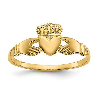 14 k Yellow Gold solide gepolijst Ladies Claddagh-Ring - 1.5 gram - Size 6
