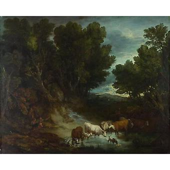 The Watering Place, Thomas Gainsborough, 50x40cm