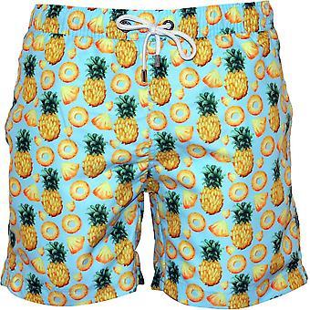 Franken ananas Print zwemmen Shorts, hemelsblauw