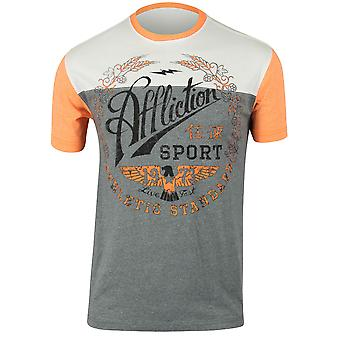 Affliction Mens Athletic Standard T-Shirt - Gray/White/Orange