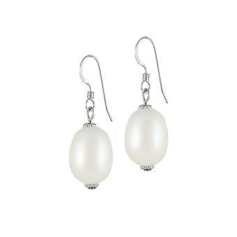 Eternal Collection Doyenne AAA White Freshwater Pearl Sterling Silver Drop Pierced Earrings