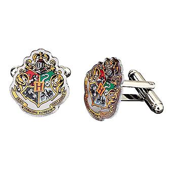 Harry Potter Hogwarts Crest argento placcato gemelli