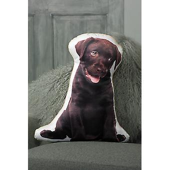 Adorable chocolate labrador shaped cushion