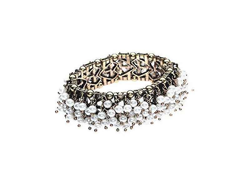 Fashion Stretch Sea Of Faux Pearls Bangle Bracelet
