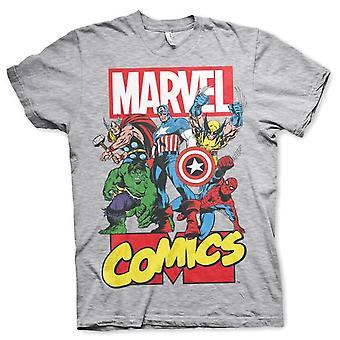 Men's Marvel Comics Superheroes Grey T-Shirt