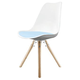 Fusion Living Eiffel Inspired White And Blue Dining Chair z pyramid light wood legs