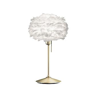 Umage Eos Table Lamp - White Feather Eos Mini/Brushed Brass Stand