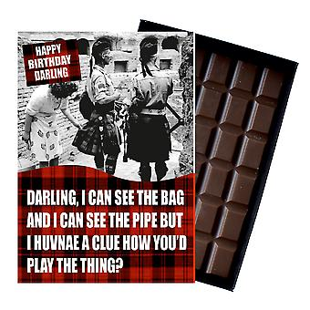 Funny Scottish Birthday Gift for Friend Women boxed Chocolate Greeting Card Present CDL152