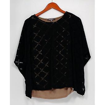 Lisa Rinna Collection Top Knit Caftan con corte láser Negro S8301