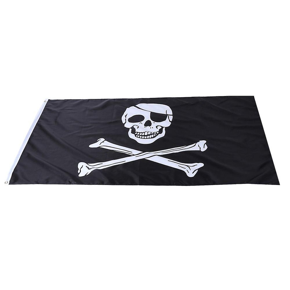 Large Black Pirate Flag Jolly Roger Skull and Bones 90x150cm with Rings Hanging Banner