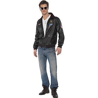 Homens jaqueta bomber Top Gun Brown com motivos Men ' s costume