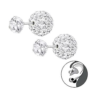 Double Ball - 925 Sterling Silver Ear Jackets & Double Earrings - W22650x