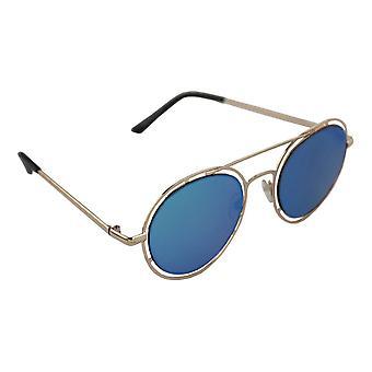 Sunglasses UV 400 Round gold LichtblauwHL210_6
