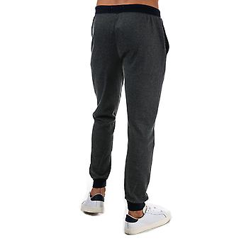 Mens Ben Sherman Jersey Lounge Jog Pants In Charcoal- Ribbed Cuffs And