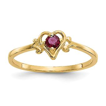 14k Yellow Gold Polished July Heart Ring - 1.0 Grams