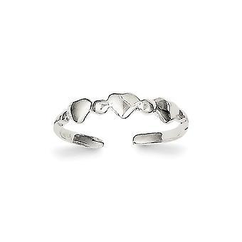 925 Sterling Sølv Solid Polert Kjærlighet Hjerter Tå Ring Smykker Gaver til Kvinner - 1,0 Gram