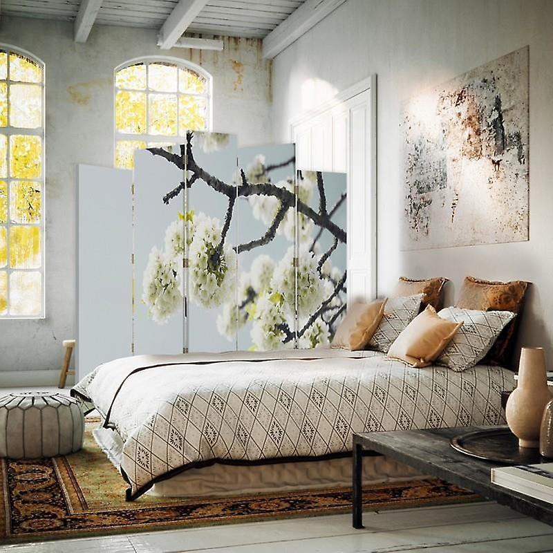 Diviseur de pièce décorative, 5 panneaux, double-sided, toile rotative de 360 , fleurs blanches sur une branche