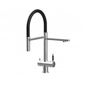 3way Kitchen Filter Mixer 100% Stainless Steel, 360° Turn Colored Movable Spout, 2 Jets Removable Spray, Brushed Finish - Black - 424