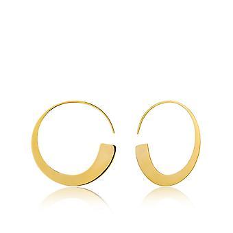 Ania Haie Silver Shiny Gold Plated Geometry Slim Hoop Earrings E005-01G
