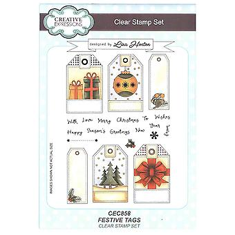 Creative Expressions Clear Stamp Set by Lisa Horton - Festive Tags