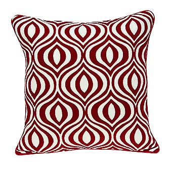 "20"" x 7"" x 20"" Transitional Red and White Pillow Cover With Down Insert"