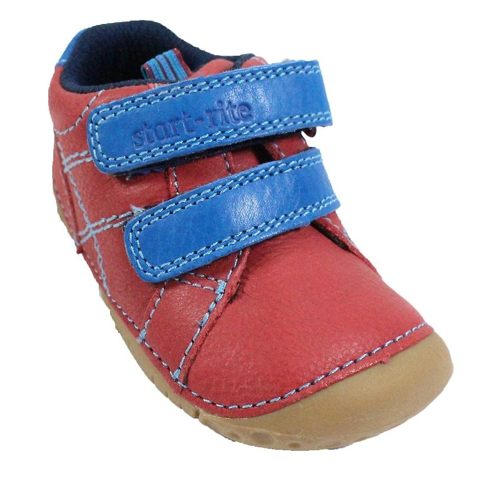 Startrite Baby Milan Red Leather Unisex Rip Tape Pre Walker Shoes