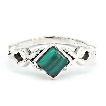 Malachite Ring 925 Silver Sterling Silver Silver Women's Ring Green (IRM 178-10)