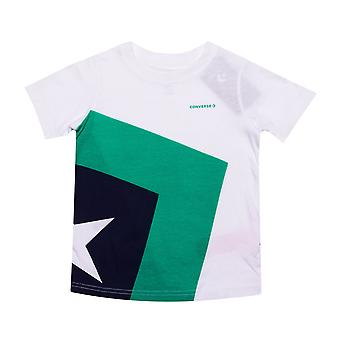Infant Boys Converse Spliced Star Chevron T-Shirt In Green- Short Sleeve- Ribbed