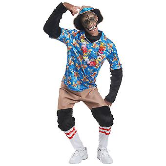 Tourist Chimp Monkey Ape Animal Holiday Hawaiian Funny Mens Costume L