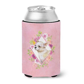 Carolines Treasures  CK4129CC Chihuahua #2 Pink Flowers Can or Bottle Hugger