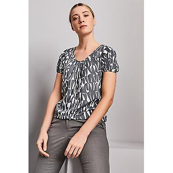 SIMON JERSEY Women's Pleat Front Blouse, Grey Shards