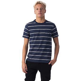 Rip Curl Highway Stripe korte mouwen T-shirt in echte Indigo