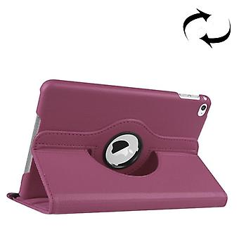 For iPad Mini 4 Case,Modern Lychee 360 Degree Rotating Leather Cover,Purple