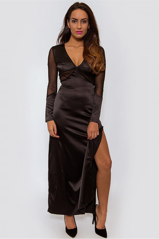 Side Split Satin Maxi Dress