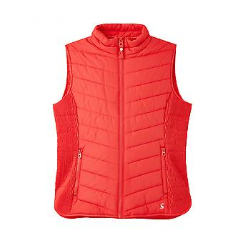 Joules Fallow Womens Padded Gilet With Funnel Neck - Poppy