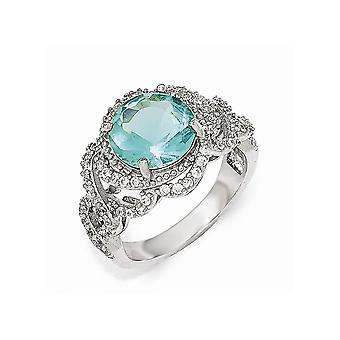 Cheryl M 925 Sterling Silver Cubic Zirconia and Simulated Paraiba Tourmaline Ring Size 7 Jewelry Gifts for Women