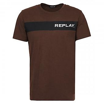 Replay Logo Print T-Shirt Brown M3846