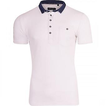 Brave ziel Mens Pique Polo T Shirt korte mouwen Denim Collar Top