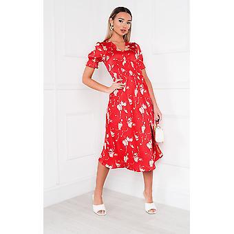 İkRUSH Bayan Mulan Desenli Fırfır Midi Elbise