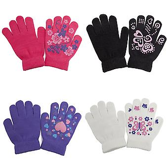 Girls Fun Winter Magic Gloves With Rubber Print